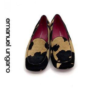 💕SALE💕 Emanuel Ungaro Leopard Calf Hair Loafers